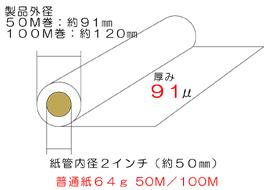 インクジェットロール普通紙64g寸法